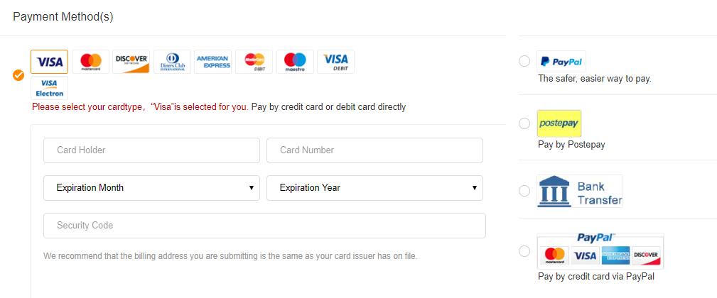 GearBest طرق الدفع