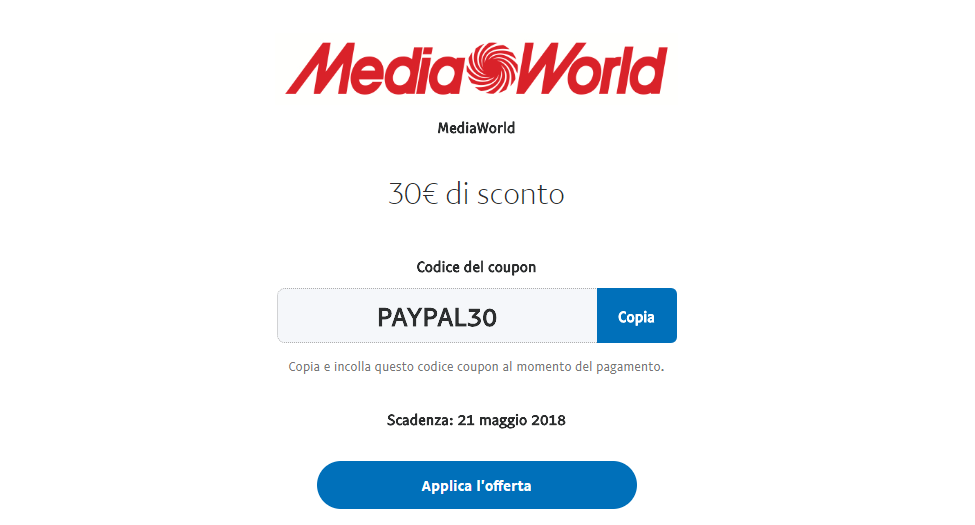 mediaworld pay pal 30