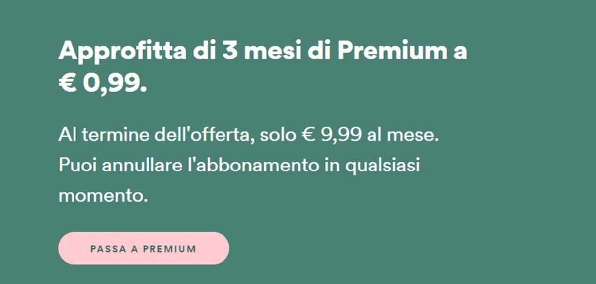 spotify premium 3 mesi