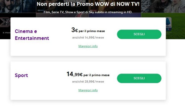 now tv promo wow sconto cinema sport sky 2