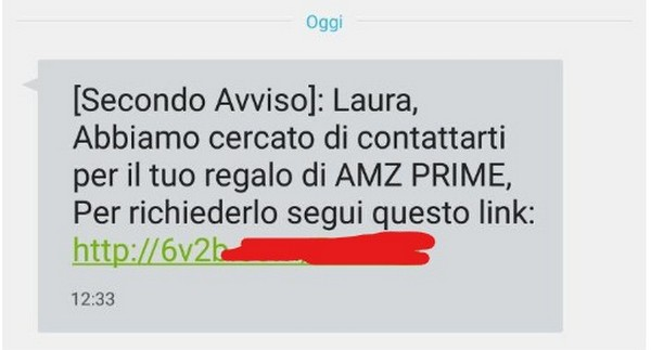 sms spam truffa amazon amz prime 2
