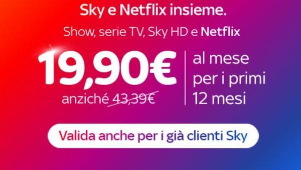 sky netflix offerta satellitare prezzo