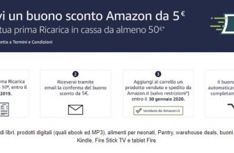 Buono sconto da 5€ con Amazon Ricarica in Cassa