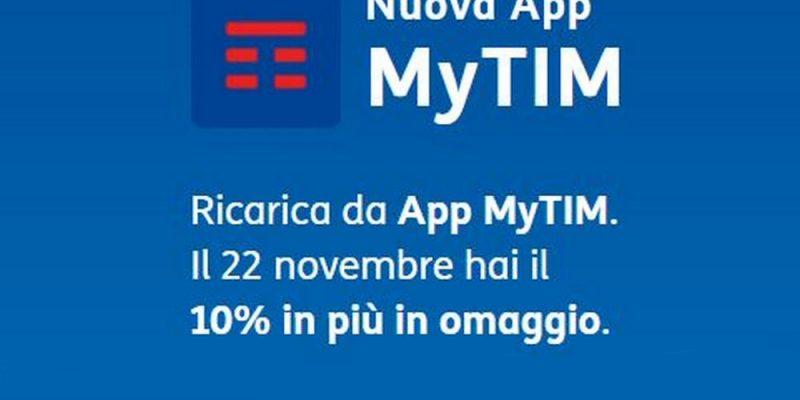 Ricarica da app e ricevi il 10% di credito gratis TIM | Solo per oggi