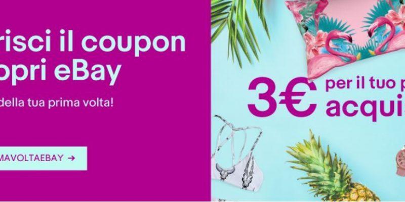 Coupon eBay PRIMAVOLTAEBAY: ricevi 3 euro di sconto per il tuo primo acquisto