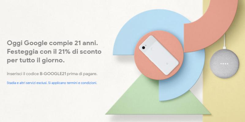 Google festeggia il 21° compleanno: -21% su tutto lo store | Solo per oggi