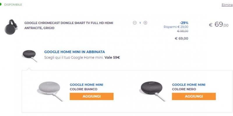Google Chromecast 3 + Google Home Mini на 69 € на Unieuro: как это сделать