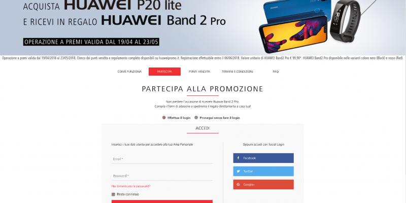 Acquista Huawei P20 Lite e ricevi gratis la Huawei Band 2 Pro