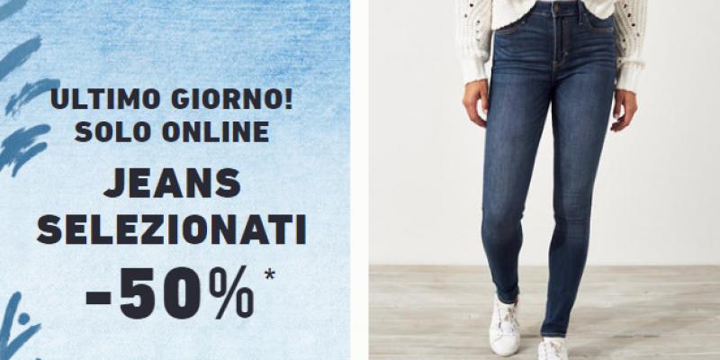 Hollister: ultimo giorno di saldi con Jeans scontati al 50%