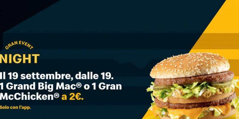 ماكدونالدز Grand Event Night: 2 € تقطع شطائر 19 في سبتمبر