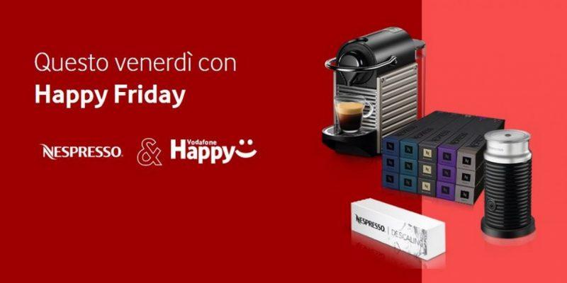 Vodafone Happy Friday 8 novembre regala uno sconto fino al 40% per le offerte Nespresso