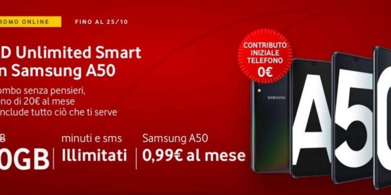 Samsung Galaxy A50 senza anticipo con Vodafone Red Unlimited Smart: tutto compreso a meno di 20€ al mese
